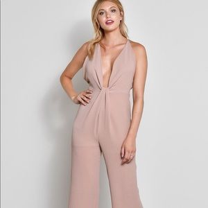 123f6a5afa Pants - TAUPE FRONT TWIST SLEEVELESS JUMPSUIT